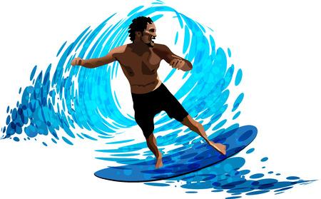 Surfer on waves Illustration