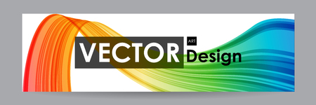 Banner with colorful curved element, bright ribbon
