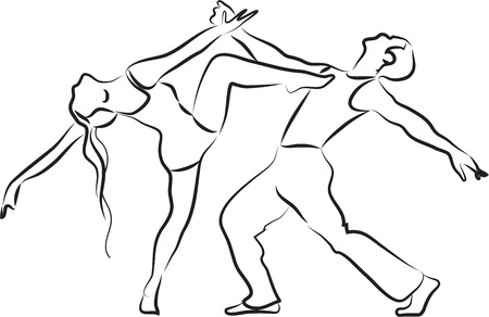Dancers silhouette, contemporary dance couple outline on a white background Stock Illustratie