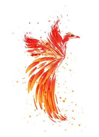 Flaming Phoenix on white background, burning mythical bird Çizim
