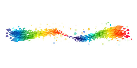 Abstract rainbow wave on white background, colorful design element Çizim