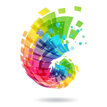 Abstract element, multicolored design concept on white background Illustration