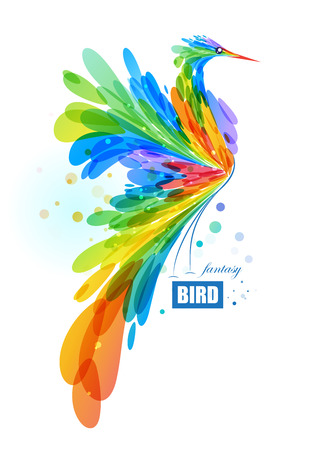 Abstract fantasy bird on white background