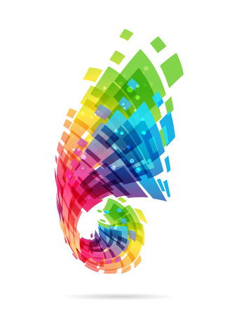 Colorful design element, abstract shape on white background