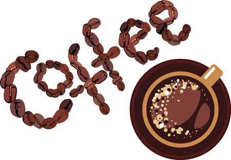 espresso: Coffee design, cap and coffee bean on white background Illustration