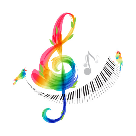 Music design, treble clef and piano keyboard on white background