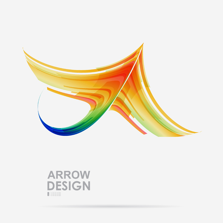 top pointer: Colorful arrow design on white background