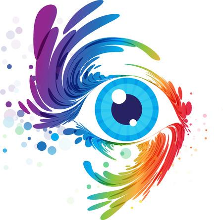 Multicolored eye art on white background, splash of eyelashes Illustration