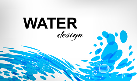 water flowing: Water design, splash wave, business card