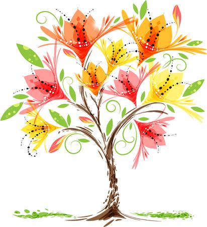 Envie d'un arbre en fleurs sur fond blanc, illustration vectorielle