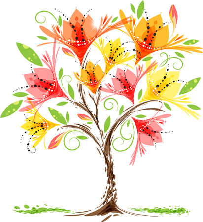 Voglia di un albero in fiore su sfondo bianco, illustrazione vettoriale