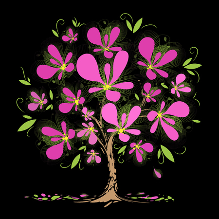 trees illustration: Art blossoming tree with pink flowers on black background Illustration