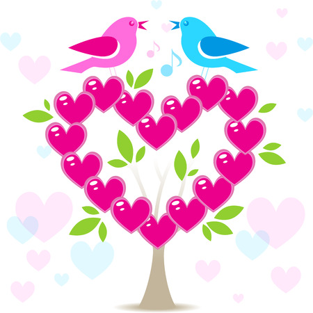 Love tree with two birds on white background, Valentines day background with pink heart leaves