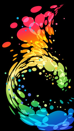Multicolored motion element on black background, mobile wallpaper