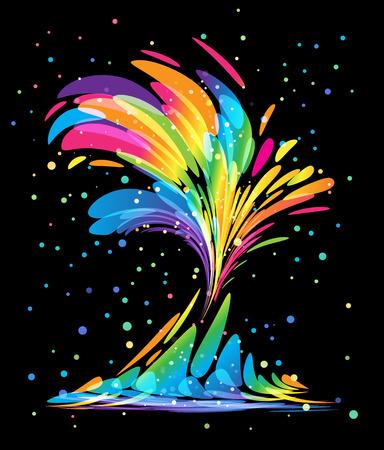 Multicolored splash elements on black background