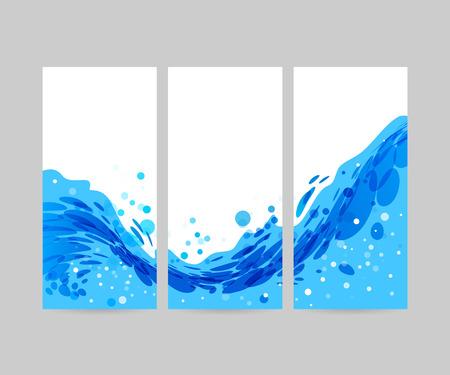 olas de mar: Estilizada olas Resumen de fondo, plantilla de folleto, onda azul sobre fondo blanco, agua de tres veces Vectores