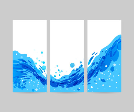 water stream: Wave abstract stylized background, brochure template, blue wave on white background, tri-fold water Illustration