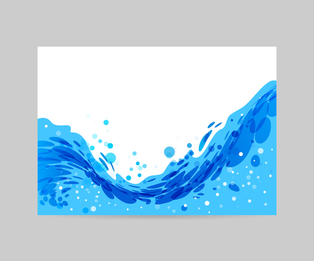 overflow: Wave abstract stylized background, brochure template, blue wave on white background