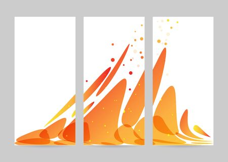 a4 borders: Set abstraction orange flow on white background, trifold banner
