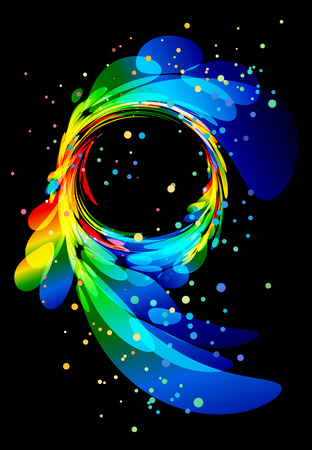 Splash colorful circular abstract element on black background