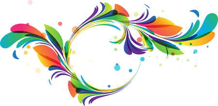 color swatch: Colorful floral circle framing on white background Illustration