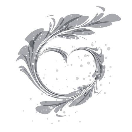 bodas de plata: Arte ornamento del corazón silueta sobre fondo blanco