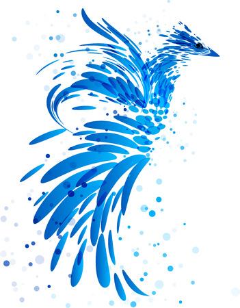 Mythical blue bird on white Illusztráció