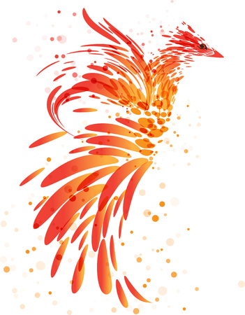 fiery: Fiery mythical bird on white background