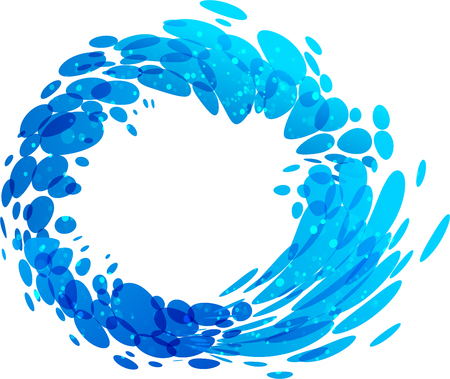 Water circle splash element on white background Illustration