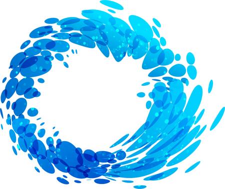 Water circle splash element on white background