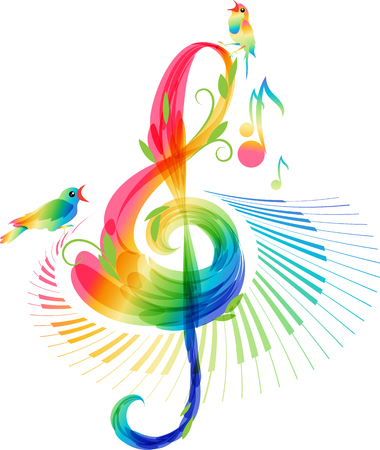 abstract music: Art treble clef and keyboard instrument with notes and birds Illustration