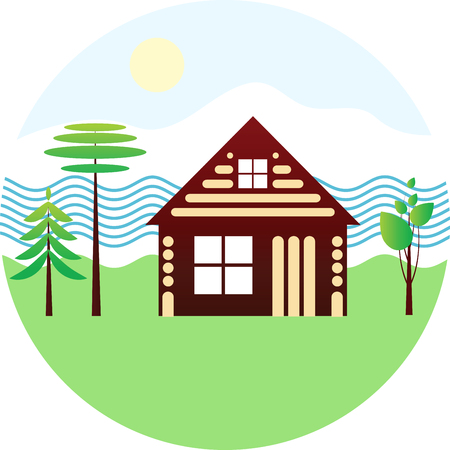 blockhouse: Set icon - wooden house, river, different trees, schematic drawing on white background, vector emblem