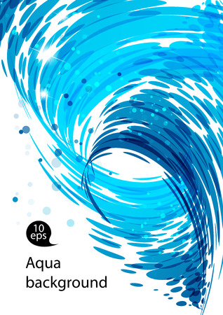 water stream: Flowing water, water stream falling, spiral motion, abstract blue background