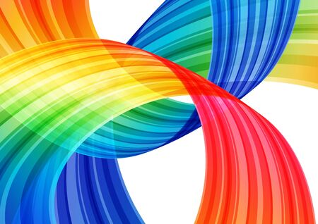 Abstract bright background, multicolored curve element on white