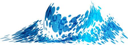 liquidity: Wave splash isolated on white background, vector illustration Illustration
