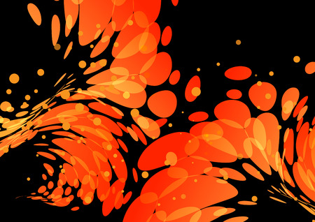Splashing burning drops, orange elements on black background 版權商用圖片 - 75391658