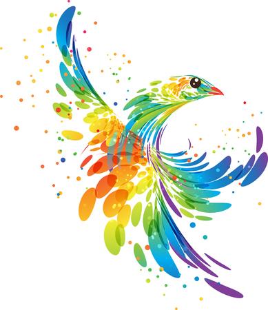 Fantasy stylized colorful bird