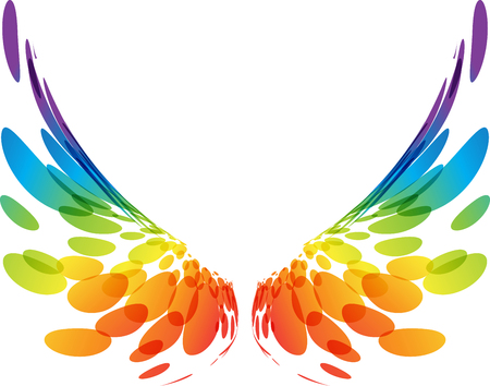 Multicolored futuristic wings on white background