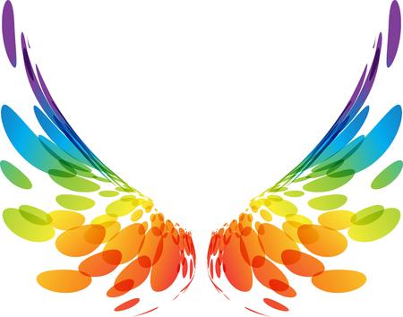 Wielobarwne futurystyczne skrzydła na białym tle