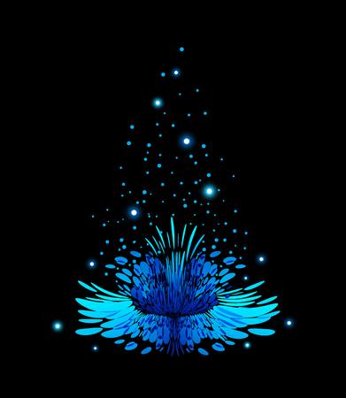Blue magical flower on black background