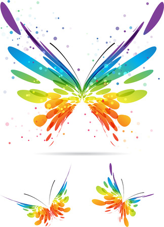 painterly effect: Set colorful butterflies