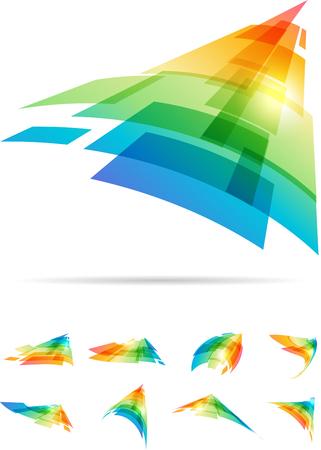 다채로운 모션 추상 표지판 설정