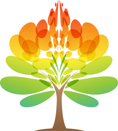 Colorful tree icon on white background