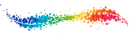 Multicolored futuristic rainbow on white background, curve line with circles Illustration