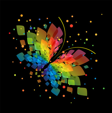 butterfly isolated: Abstract splash butterfly on black background Illustration