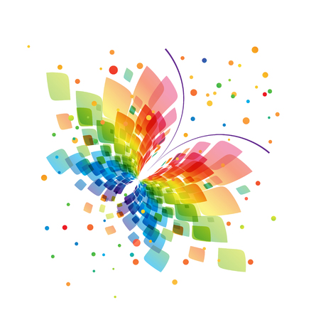 butterfly isolated: Abstract splash butterfly on white background Illustration