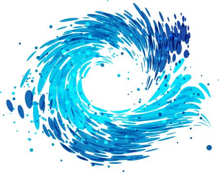 Éclabousser la vague ronde sur fond blanc Vecteurs