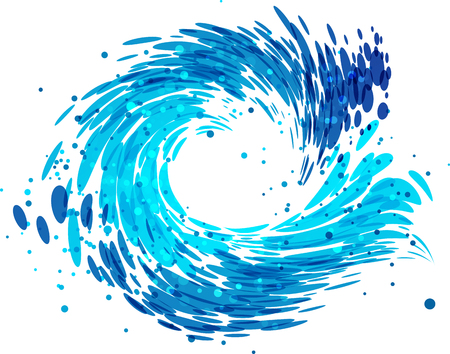 Splash round wave on white background