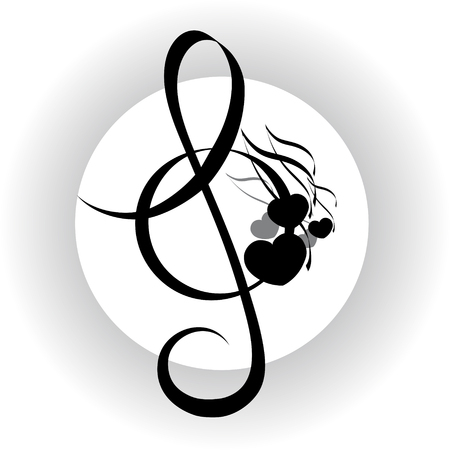 Music background, treble clef with notes design, black and white