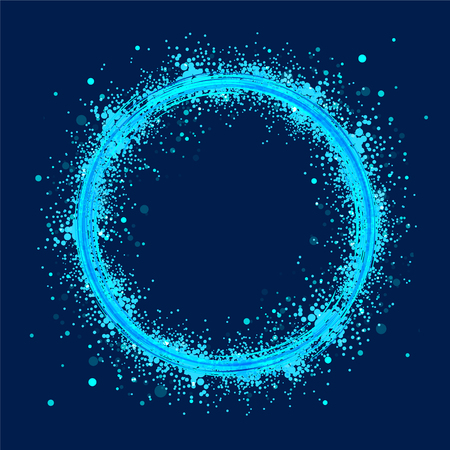 Azure circles on dark background. Abstract rings with motion effect. Swirl trail effect.